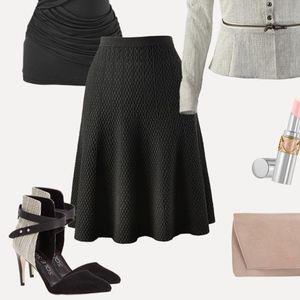 CAbi Amelie #214 Knit Stretch A Line Black Skirt M